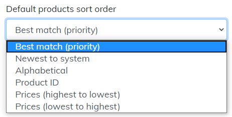default products search order