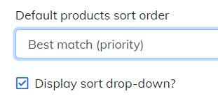 display sort drop-down