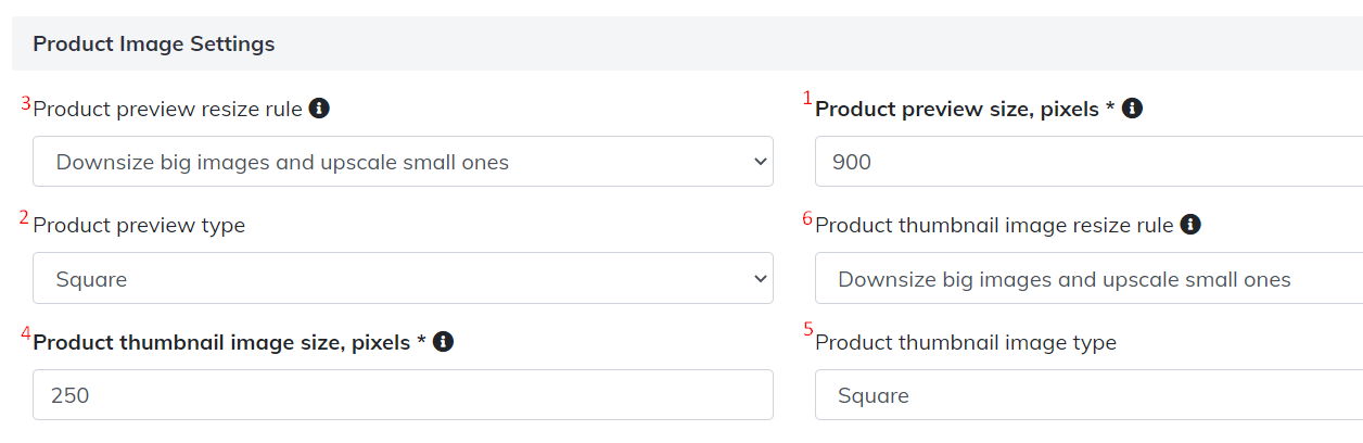 product image settings