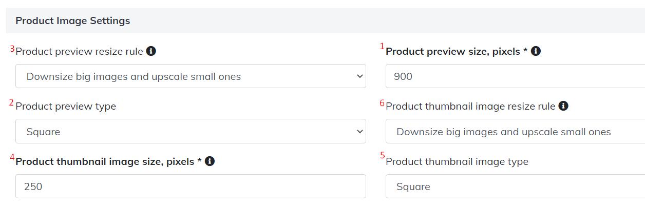 product image settings
