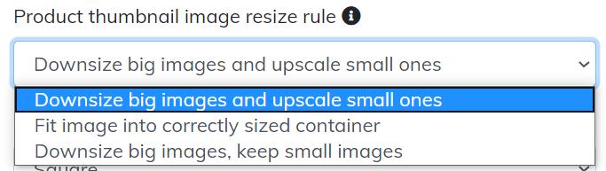 Product thumbnail image resize rule options