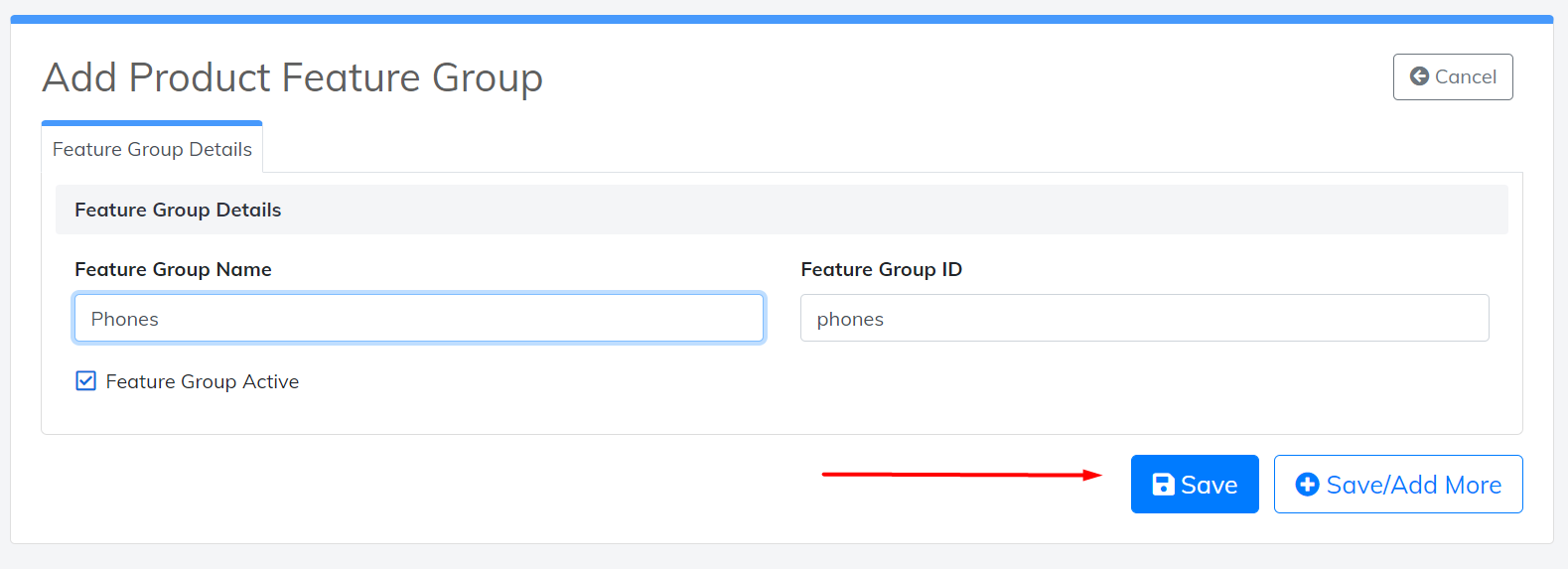 save product feature group