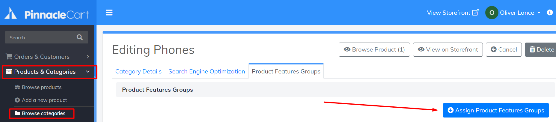 assign product features groups