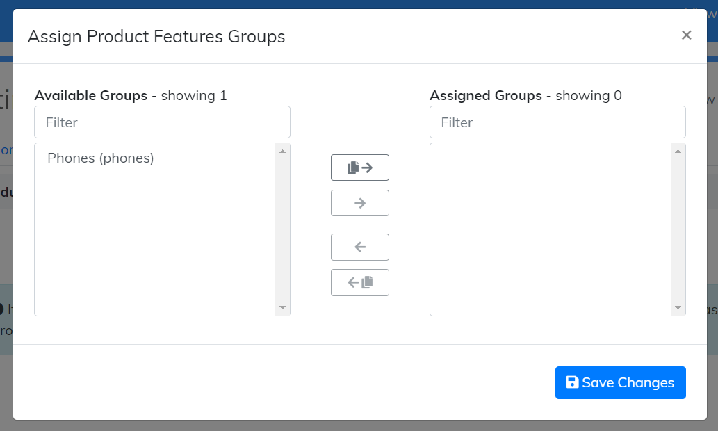 assign product features groups options