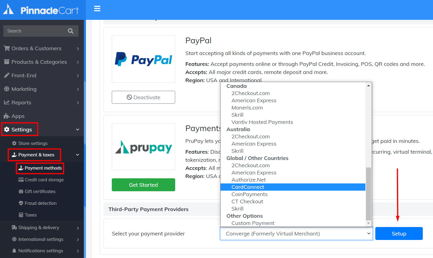 cardconnect payment method set up