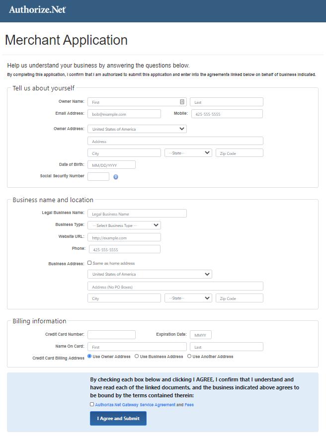 merchant application form