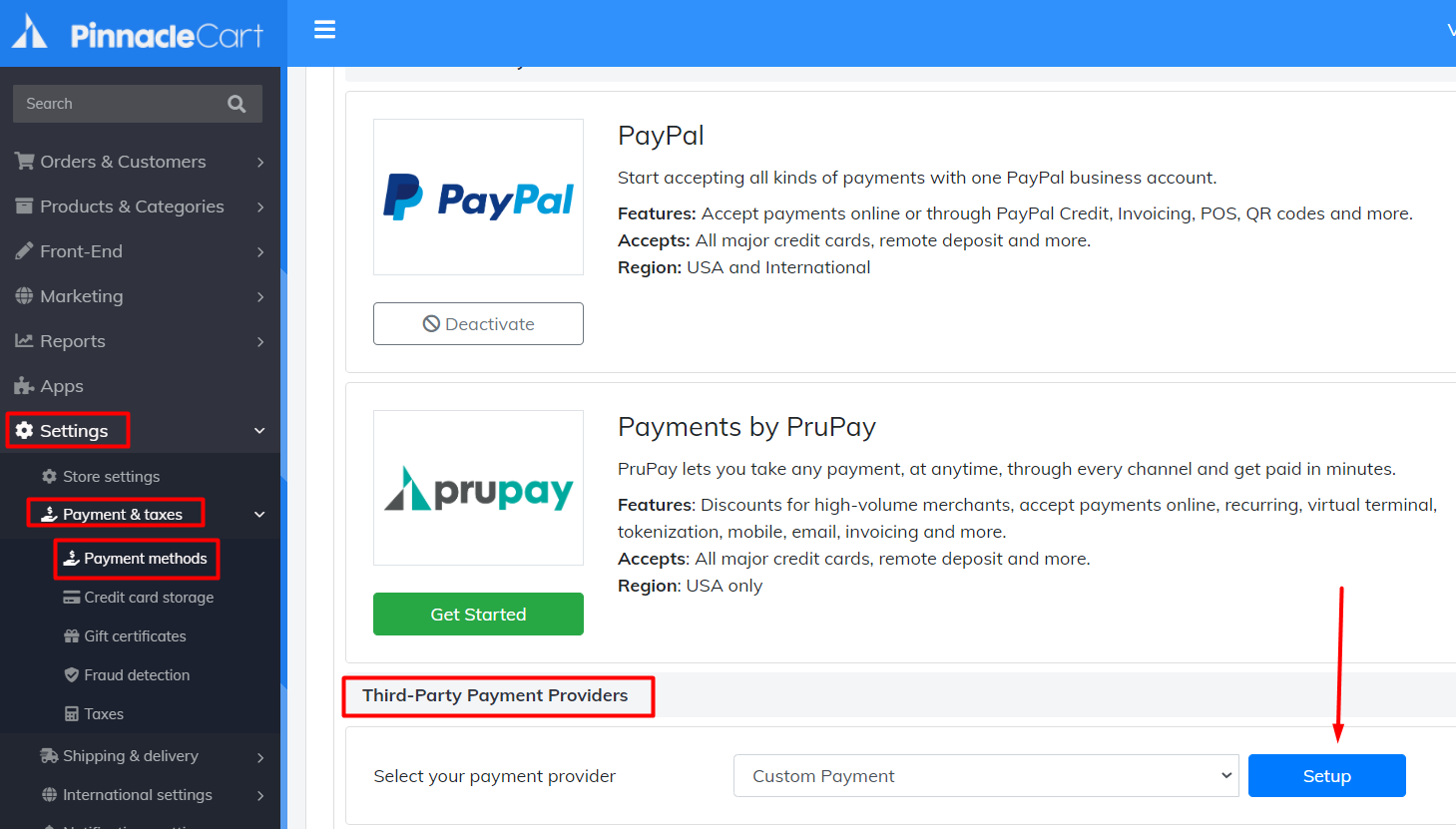 set up custom payment method