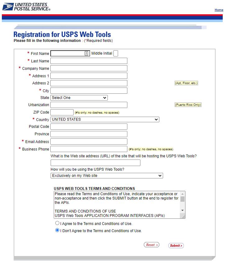 USPS registration form