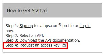 UPS request an access key