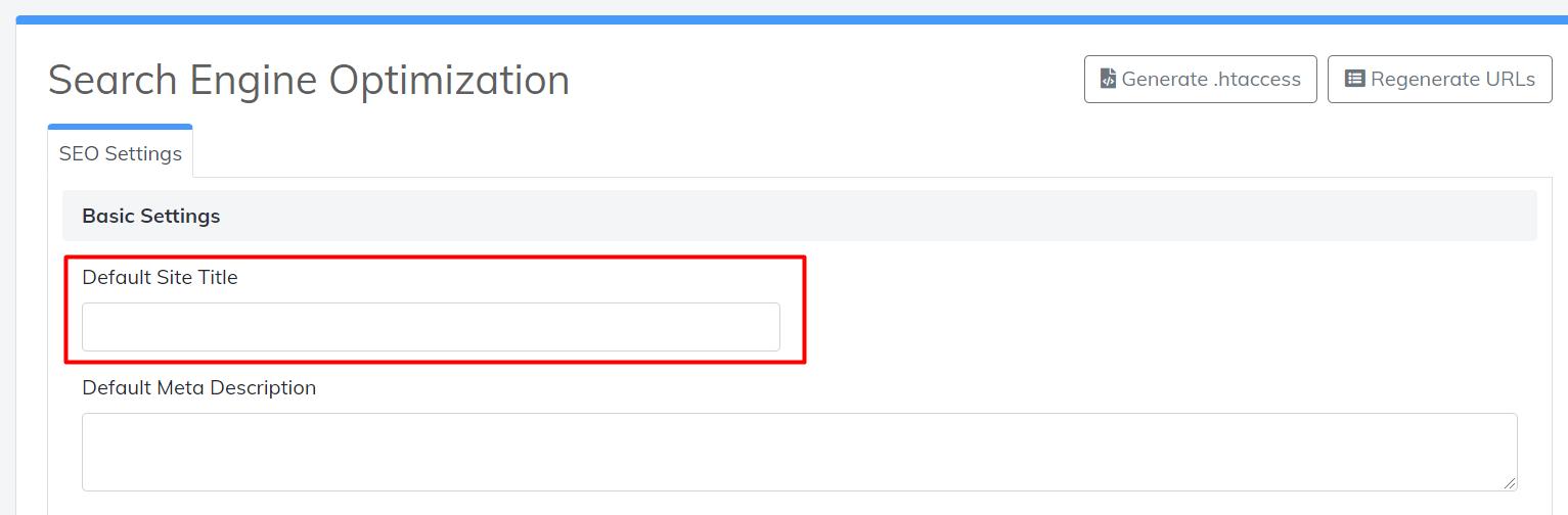 SEO default site title