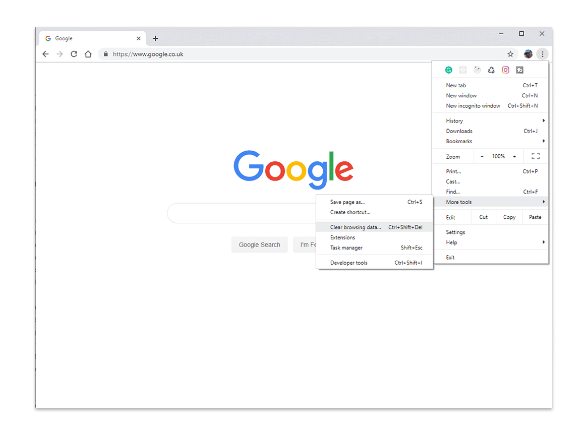Clearing the browser cache menu option
