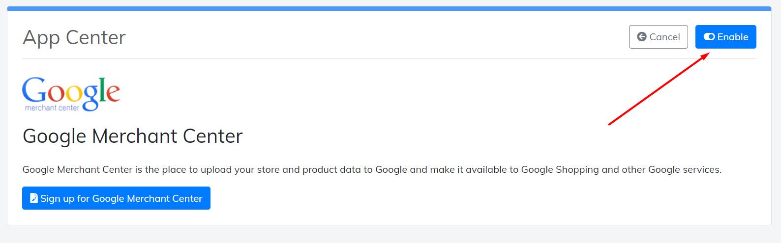 enable google merchant center