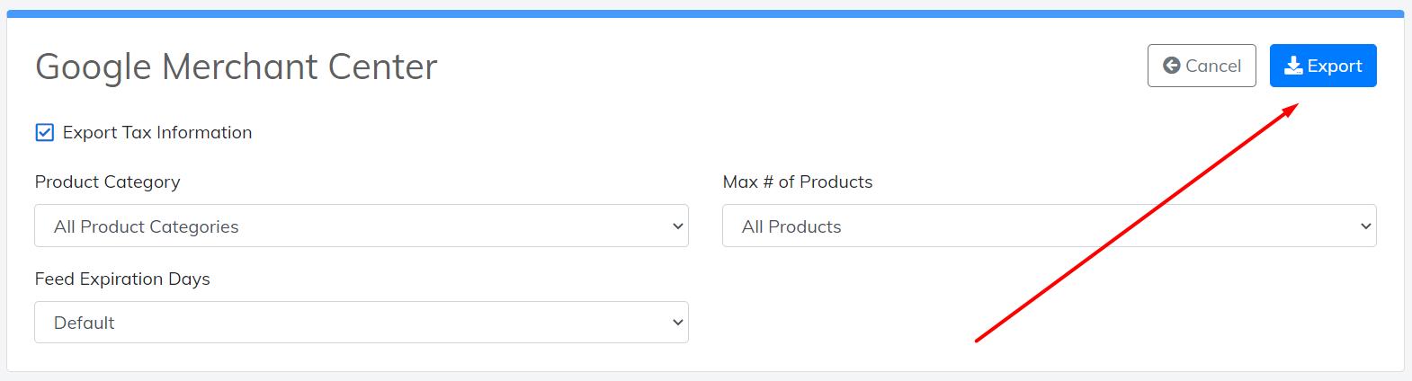 export google merchant center