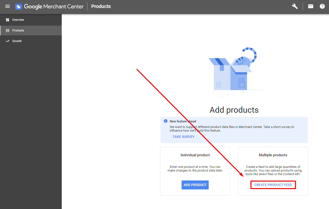 create product data feed google merchant center