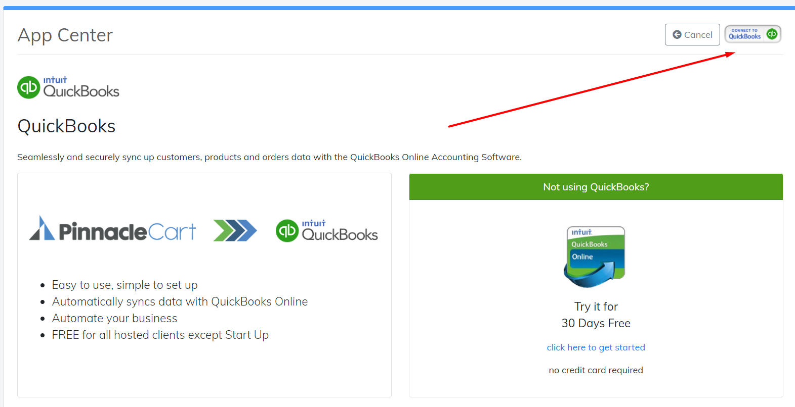 connect to quickbooks button