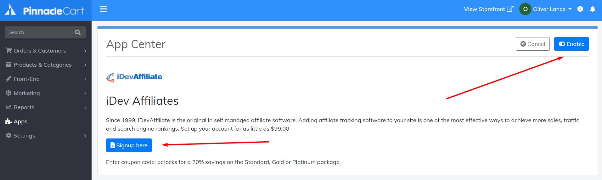 idevaffiliate app settings