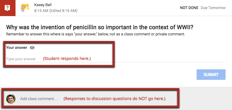 Student responses to discussion in Google Classroom