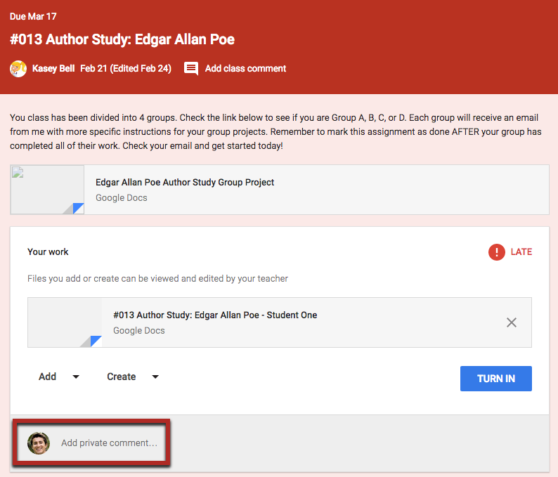 Add a Private Comment in Google Classroom