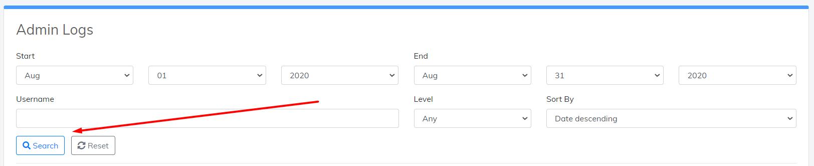 search admin logs