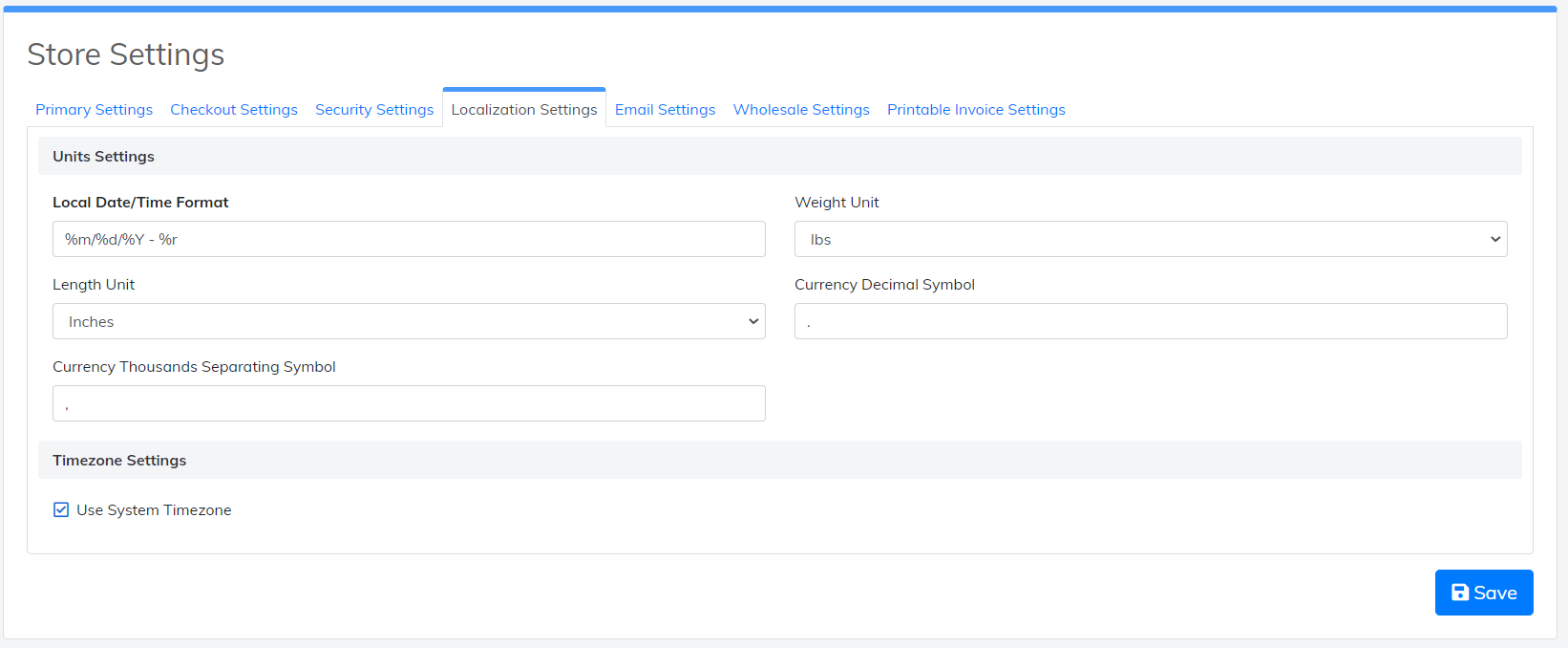 localization settings