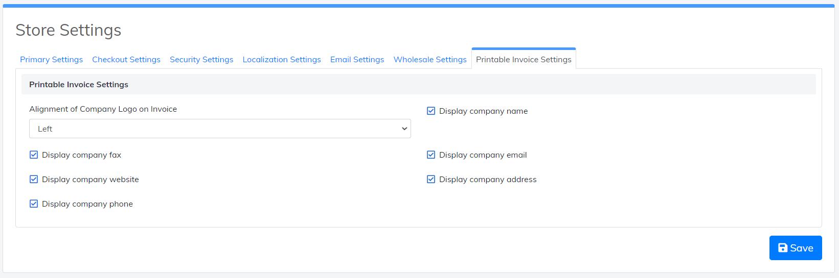 printable invoice settings