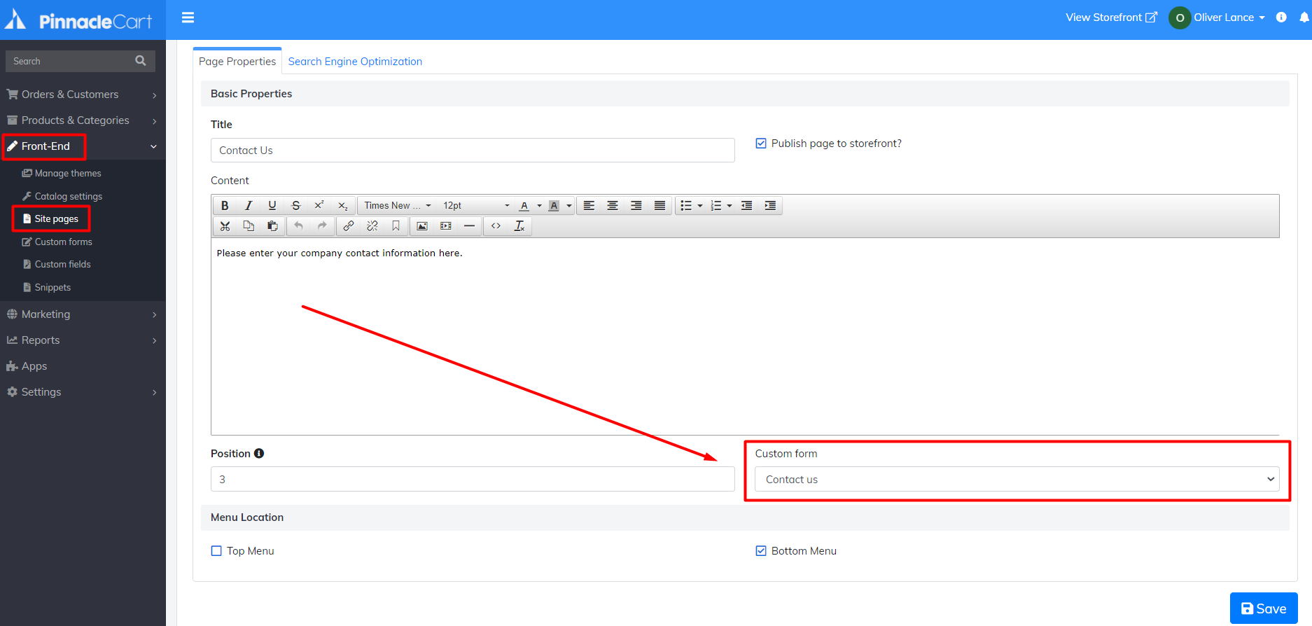 custom form insert location