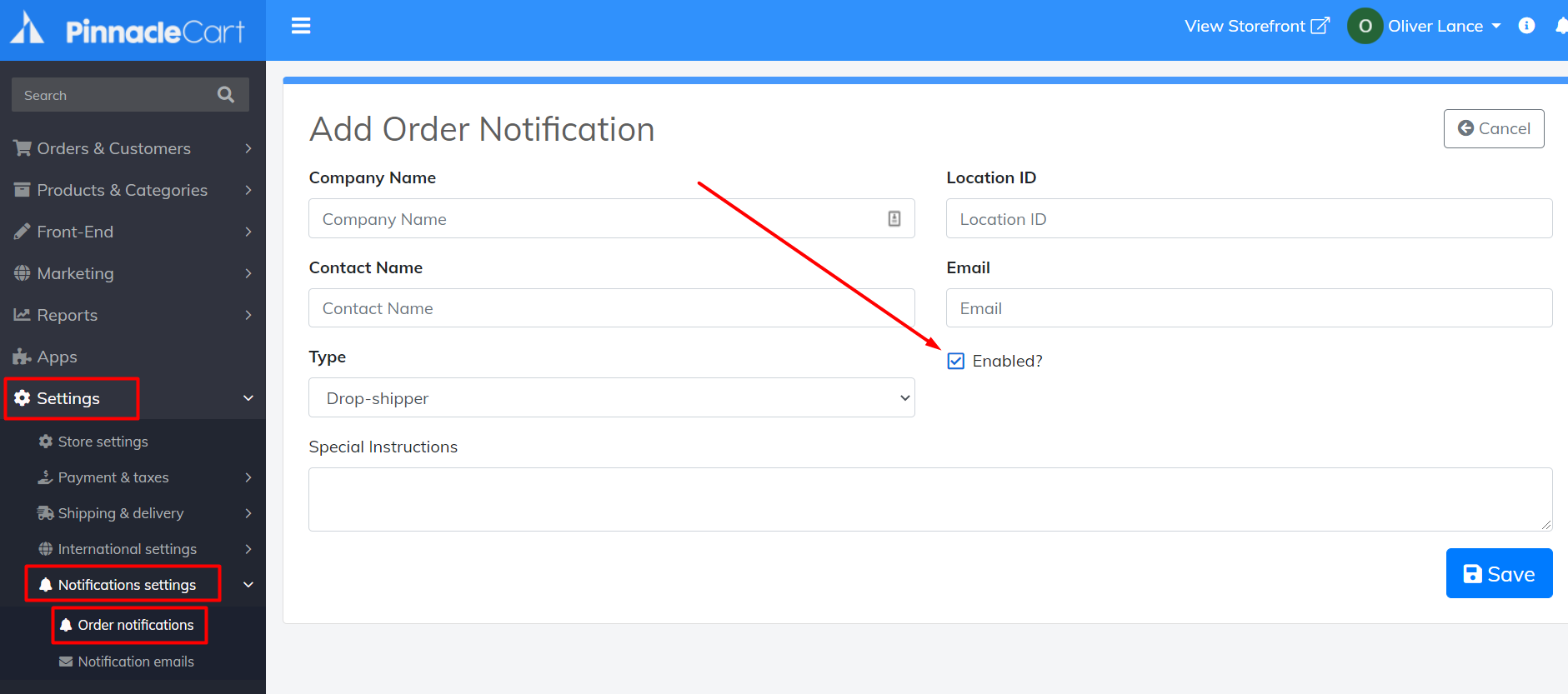 add order notifications