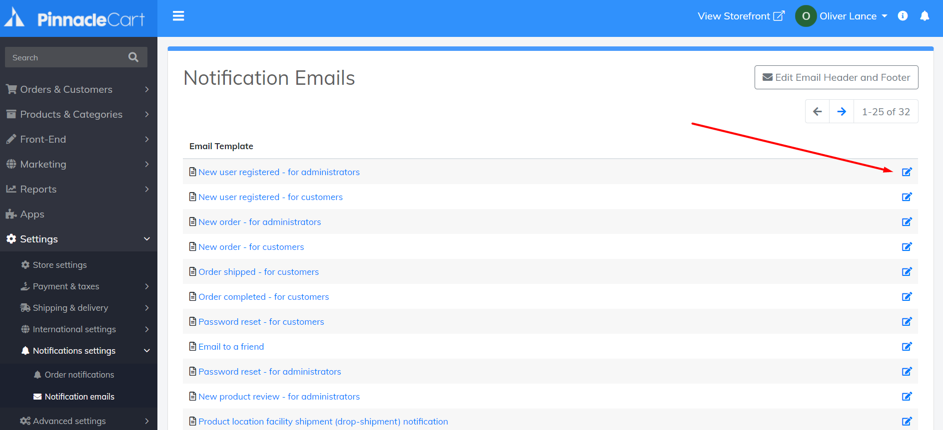 edit notification emails