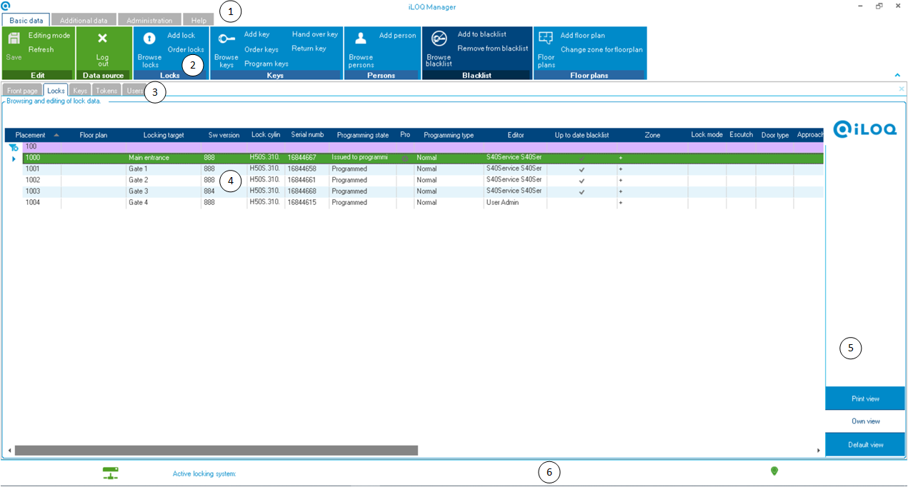 iLOQ Manager User Interface
