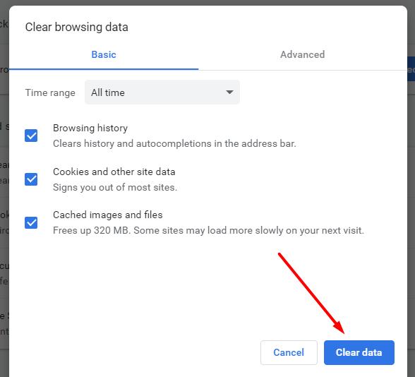 clear browsing data google chrome