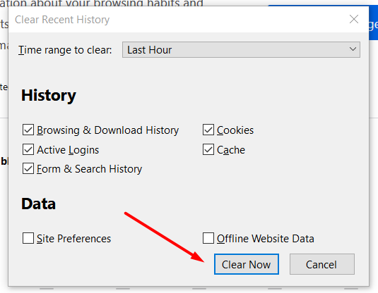 clear recent history firefox