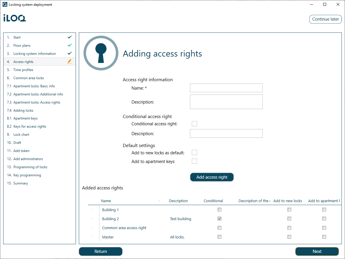 Adding Access Right Groups