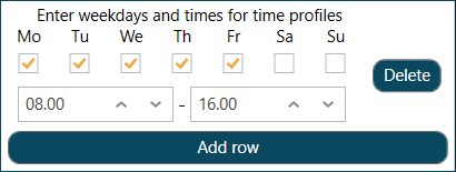Enter Weekdays and Times for the Time Profile
