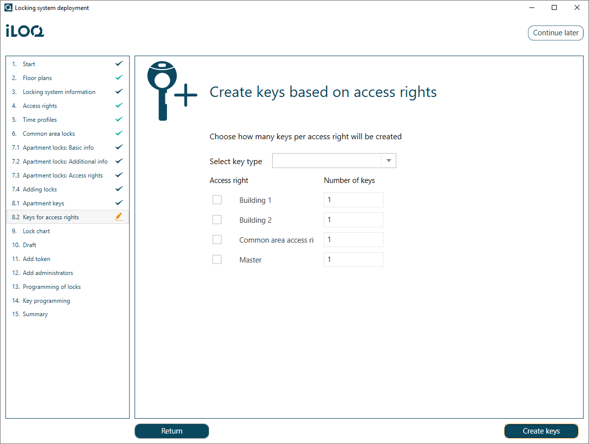 Creating Keys Based on Access Rights