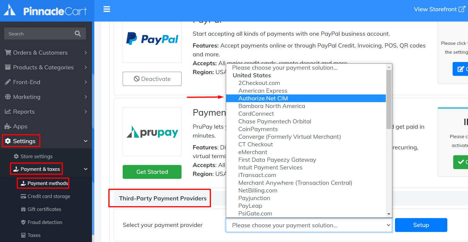 select payment provider