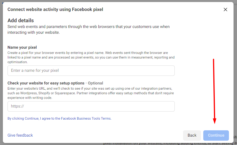 add facebook pixel details