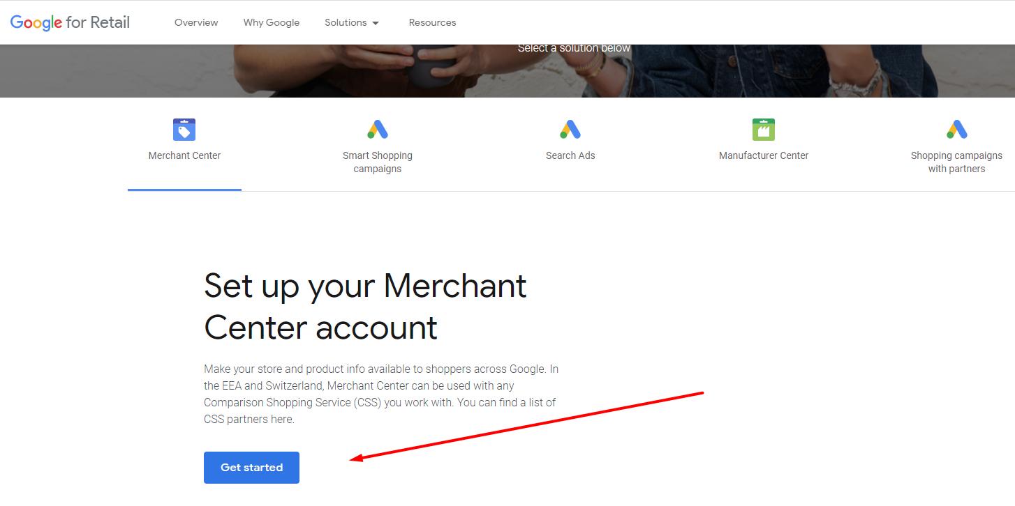 get started google merchant