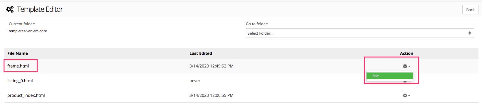 "Click edit ""frame.html"""