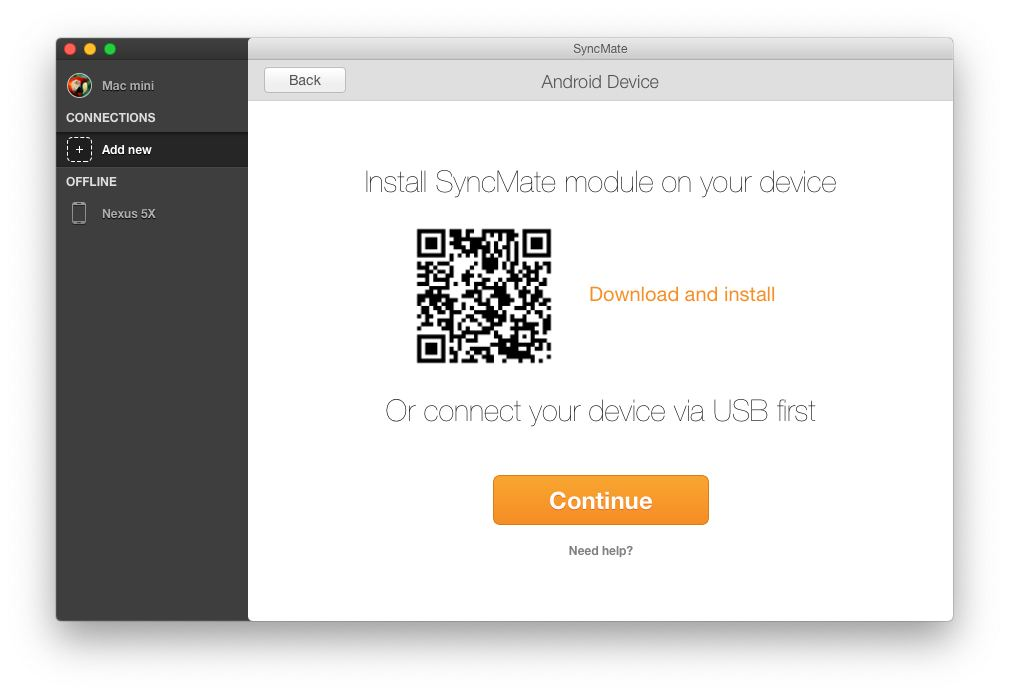 Install SyncMate module on your device