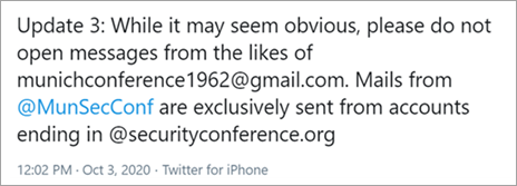 A tweet from the Munich Security Conference CEO discouraging attendees from opening email messages from masquerade accounts