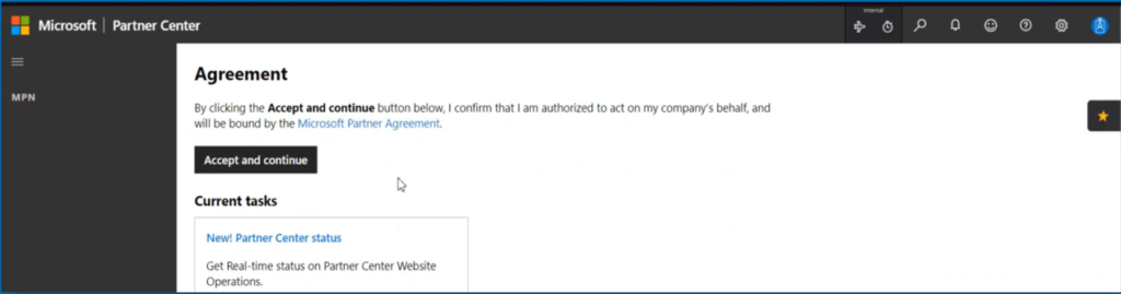 Step 2: Ensure that you sign in as a Global Admin of your Partner Center