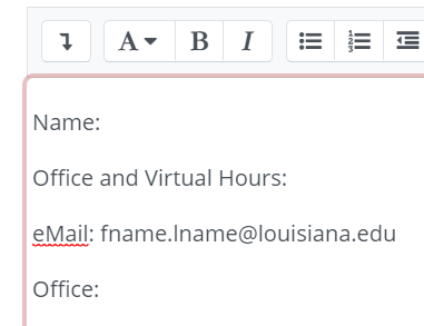 Type your information into the text area provided