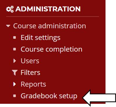 Under Administration, gradebook setup
