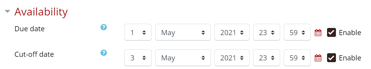 Availability has a due date and a cut-off date with a date and time selector if enabled