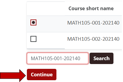 Checkboxes appear beside each choice. The continue button is at the bottom.