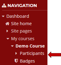 Select Participants in the Navigation block