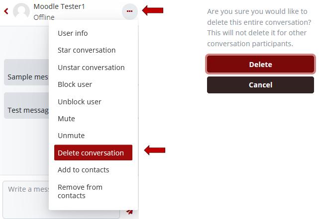 Click the Conversation Action Menu, and select Delete conversion, then click Delete button.