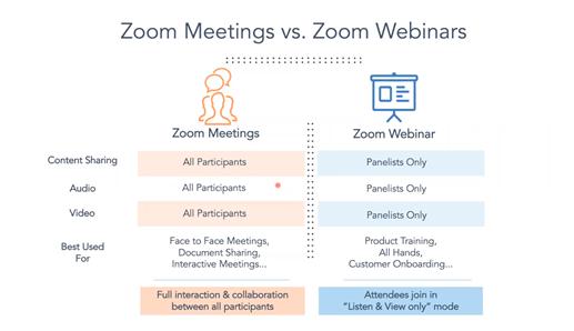 Zoom meetings vs webinars
