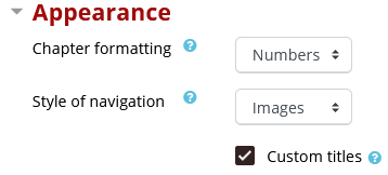 Appearance setting including chapter formatting option and style of navigation optons