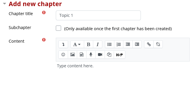 Add new chapter page including chapter title, subchapter and content